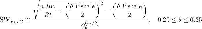 Fertl equation for shaly sand rocks