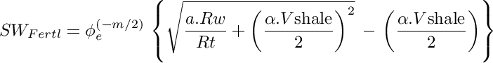Fertl 1975 equation for shaly sands