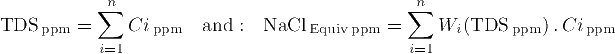 Equation to compute Total Dissolved Solids (TDS), and Equivalent Water Salinity
