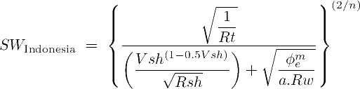The mathematical formula of the Indonesia Poupon-Leveaux water saturation equation