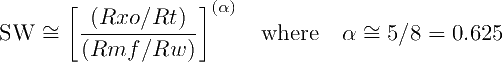 SW Ratio Equation