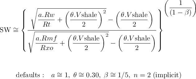 SW Ratio Equation corrected for shale content