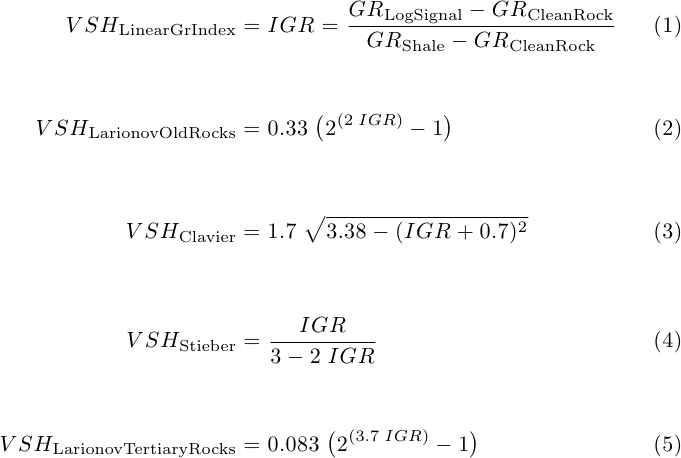 Equations to estimate VSHALE from Gamma Ray: Larionov, Clavier and Stieber models.