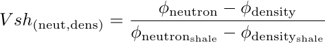 Equation to estimate VSHALE from Neutron Porosity minus Density Porosity log curves difference