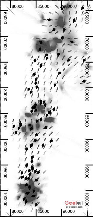 Black & white Stress turbulence heterogeneity map made with geoloil.com software.