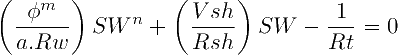 Modified Simandox Equation for Water Saturation, Bardon and Pied (1969)
