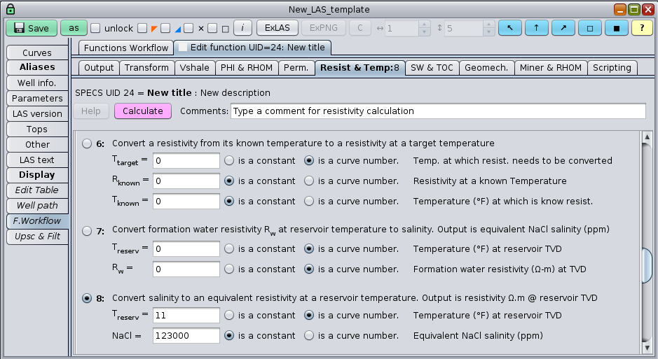 GeolOil software panel for water salinity and Rw conversions