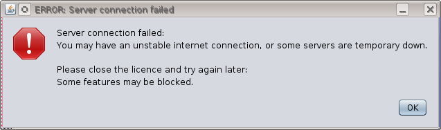 Severe warning message when trying to run GeolOil without an internet connection